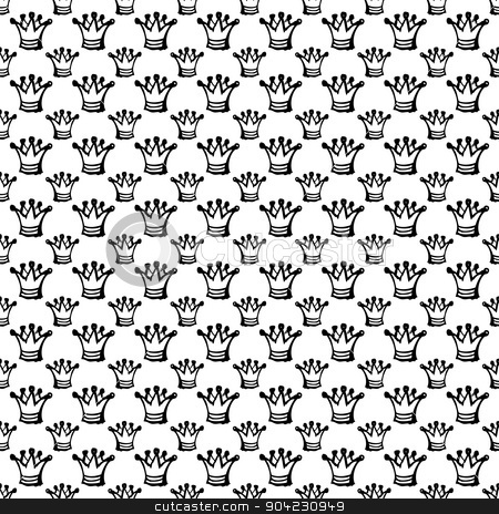 seamless pattern with crown stock vector clipart, white seamless pattern with black abstract crown by Iryna