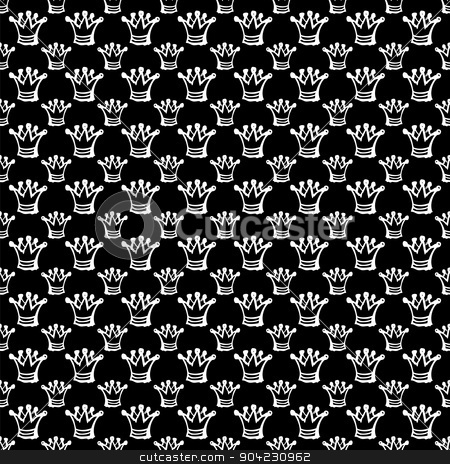 seamless pattern with crown stock vector clipart, white seamless pattern with white abstract crown by Iryna