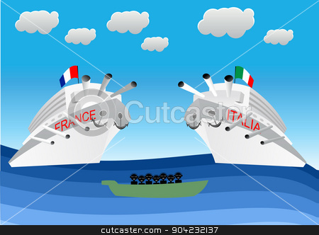 illegal migrants on lifeboat stock vector clipart, illustration of illegal migrants on lifeboat floating in front of Italian and Franch warships. Concept for lifeguard, navy patrol by flint01