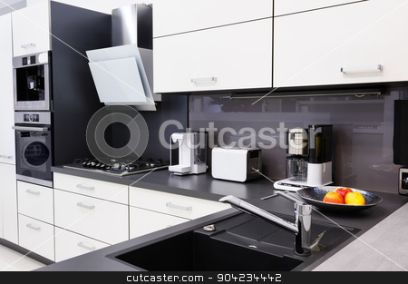 Modern hi-tek kitchen, clean interior design stock photo, Modern luxury hi-tek black and white kitchen, clean interior design by Serghei Starus