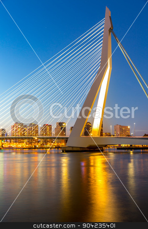 Erasmus bridge Rotterdam stock photo, Erasmus bridge over the river Meuse in , the Netherlands by Vichaya Kiatying-Angsulee