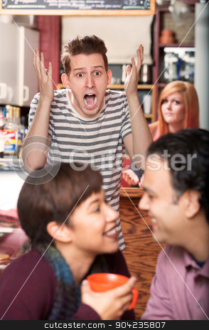 Screaming Man Watching Couple stock photo, Screaming young man watching happy couple in cafe by Scott Griessel