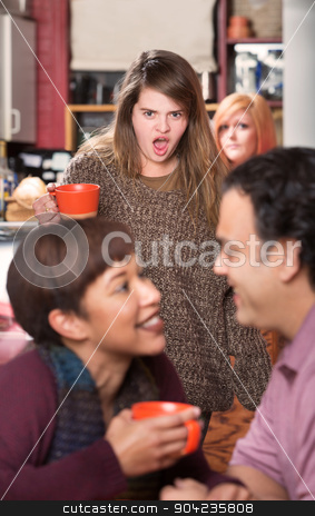 Shocked Woman Watching Couple stock photo, Shocked woman with coffee finding boyfriend in cafe by Scott Griessel