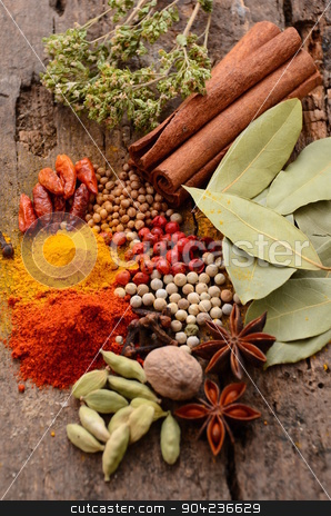 Herbs and spices selection stock photo, Herbs and spices selection, on wooden table background  by sutike
