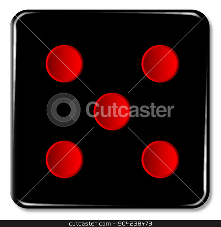 Five stock vector clipart, The face of a dice with five red spots over a white background by Kotto