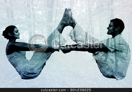 Composite image of peaceful couple sitting in boat position toge stock photo, Peaceful couple sitting in boat position together against trees in the autumnal forest by Wavebreak Media
