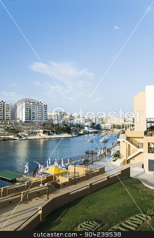 pims_20080607_ml0032 stock photo, Buildings at the waterfront, St. Julian's, Malta by imagedb