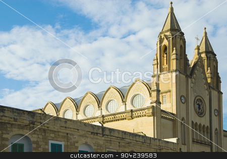 pims_20080607_ml0142 stock photo, Low angle view of a church, Balluta Church, Malta by imagedb
