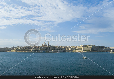 pims_20080607_ml0179 stock photo, Buildings at the waterfront, Marsamxett Harbor, Valetta, Malta by imagedb