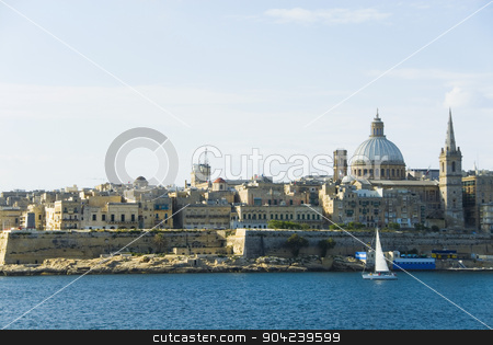 pims_20080607_ml0200 stock photo, Buildings at the waterfront, Marsamxett Harbor, Valetta, Malta by imagedb