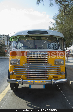pims_20080607_ml0242 stock photo, Bus on the road, Valletta, Malta by imagedb