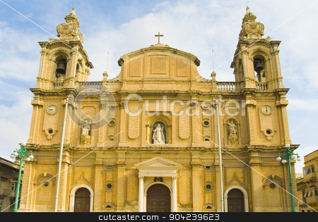 pims_20080607_ml0283 stock photo, Facade of a church, Msida Parish Church, Msida, Malta by imagedb