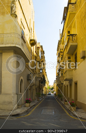 pims_20080607_ml0369 stock photo, Buildings along a street, Valletta, Malta by imagedb
