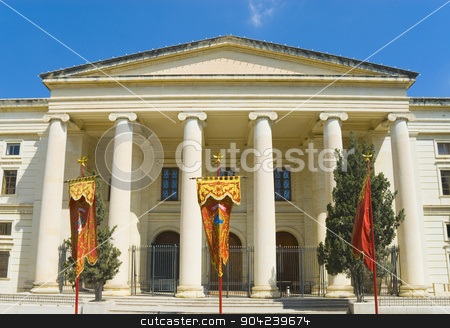 pims_20080607_ml0458 stock photo, Low angle view of a courthouse, The Law Courts, Great Siege Square, Valletta, Malta by imagedb