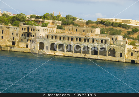 pims_20080607_ml0517 stock photo, Buildings at the waterfront, Valletta, Malta by imagedb