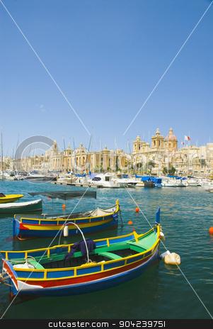 pims_20080607_ml0600 stock photo, Boats with a church in the background, San Lawrenz Church, Grand Harbor, Birgu, Malta by imagedb