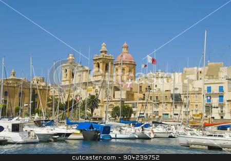 pims_20080607_ml0601 stock photo, Boats with a church in the background, San Lawrenz Church, Grand Harbor, Birgu, Malta by imagedb
