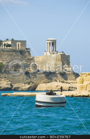 pims_20080607_ml0621 stock photo, Buoy floating in water, Valletta, Malta by imagedb