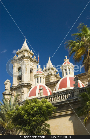 pims_20080607_ml0695 stock photo, Low angle view of a church, St. Catherine Church, Zurrieq, Malta by imagedb
