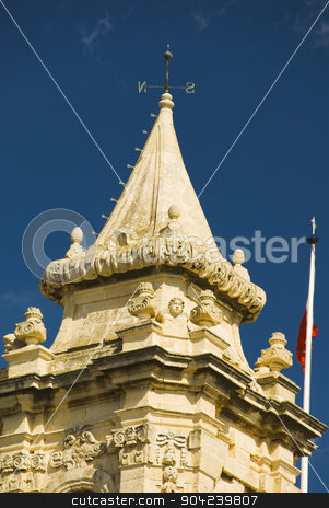 pims_20080607_ml0701 stock photo, High section view of a church, St. Catherine Church, Zurrieq, Malta by imagedb
