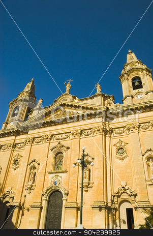 pims_20080607_ml0727 stock photo, Facade of a church, Our Lady of Victory Church, Naxxar, Malta by imagedb