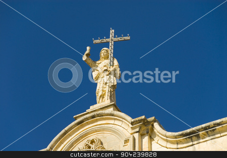 pims_20080607_ml0734 stock photo, Low angle view of a statue on a church, Our Lady of Victory Church, Naxxar, Malta by imagedb