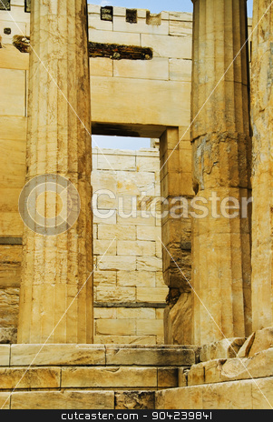 pims_20080609_ml0042 stock photo, Colonnade of an ancient temple, Temple of Athena Nike, Acropolis, Athens, Greece by imagedb