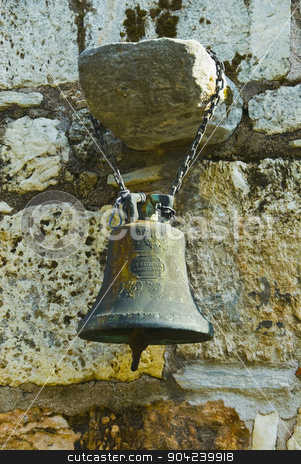 pims_20080609_ml0242 stock photo, Bell hanging at a church wall, Church of The Holy Apostles, The Ancient Agora, Athens, Greece by imagedb