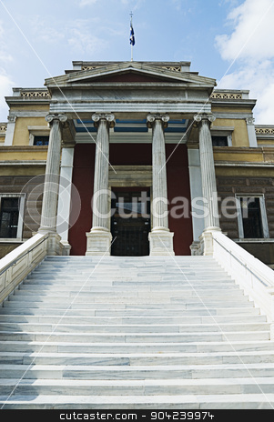 pims_20080610_ml0035 stock photo, Staircase of a museum, National History Museum, Athens, Greece by imagedb