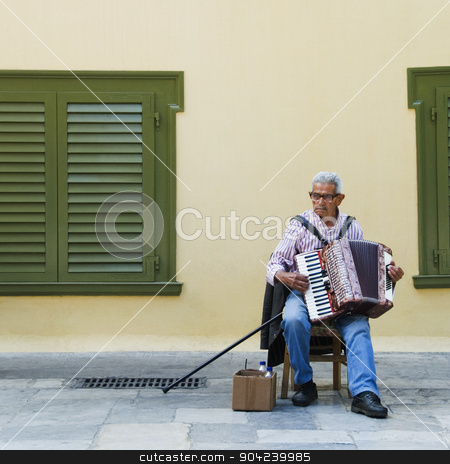 pims_20080610_ml0063 stock photo, Man playing an accordion, Athens, Greece by imagedb