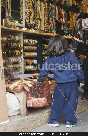 pims_20090121_ps0095 stock photo, Family shopping in a jewelry shop, New Delhi, India by imagedb