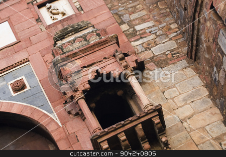 pims_20060721_sa0225 stock photo, Low angle view of a fort, Old Fort, Delhi, India by imagedb