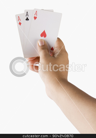 pims_20080721_ps0005 stock photo, Close-up of a woman's hand holding playing cards by imagedb