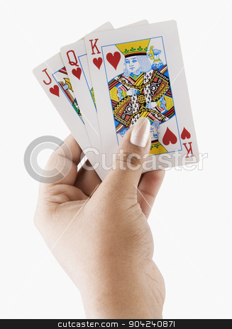 pims_20080721_ps0009 stock photo, Close-up of a woman's hand holding playing cards by imagedb