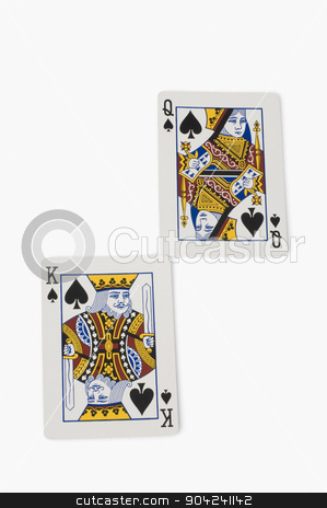 pims_20080924_sa0167 stock photo, Close-up of king of spades and queen of spades playing cards by imagedb