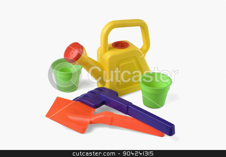 pims_20080926_sa0112 stock photo, Close-up of sand pails and shovels with watering can by imagedb