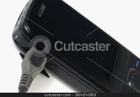 pims_20080927_sa0156 stock photo, USB cable connected on a mobile phone by imagedb