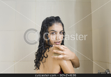 pims_20090306_sh1529.jpg stock photo, Portrait of a young woman bathing by imagedb