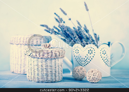 bouquet of lavender  stock photo, bouquet of lavender on a white wooden table by tycoon
