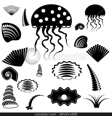 Silhouettes of Sea Animals  stock vector clipart, Set of Silhouettes of Sea Animals Isolated on White Background by valeo5