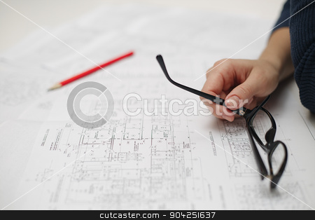 Architect sketching a construction project stock photo, Architect sketching a construction project of house by kkolosov