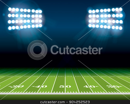 American Football Field with Stadium Lights stock vector clipart, An illustration of an American Football field with bright stadium lights shining on it. Vector EPS 10 available. Room for copy. by Jason Enterline