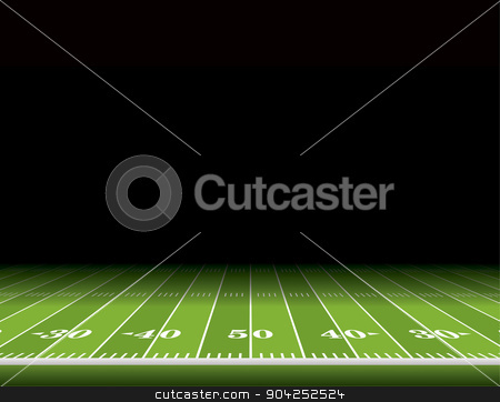 American Football Field Background Illustration stock vector clipart, A view from the sideline of an American football field with room for copy. Vector EPS 10 illustration available. by Jason Enterline