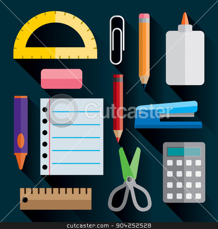 Office and School Supplies Flat Images Illustration stock vector clipart, A set of office and school supplies illustrated in simple flat design. Vector EPS 10 available. by Jason Enterline