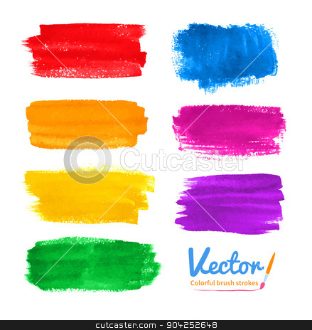 Colorful brush strokes. stock vector clipart, Vector set of hand drawn watercolor colorful brush strokes. by Sofya Golovanova