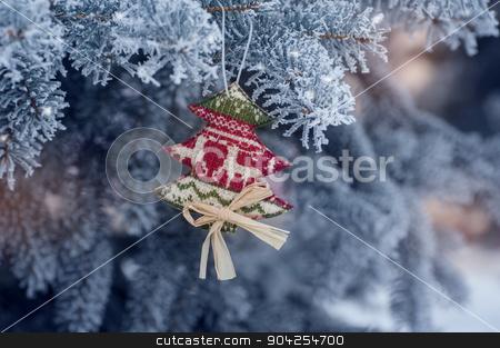 Frozen coniferous branches in white winter  stock photo, Frozen coniferous branches in white winter. by timonko