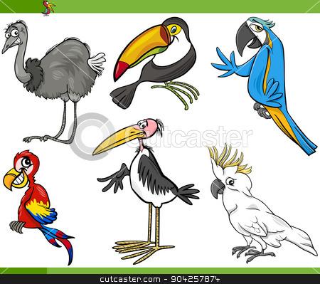 birds cartoon set illustration stock vector clipart, Cartoon Illustration of Funny Exotic Birds Set by Igor Zakowski