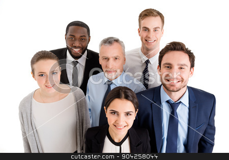 Concept for multi-ethnic business team stock photo, Multi-ethnic business team standing isolated on white, smiling and looking up to camera by Dmytro Sidelnikov