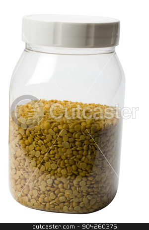 pims_20090623_as0611.jpg stock photo, Close-up of pigeon pea pulses in a plastic jar by imagedb