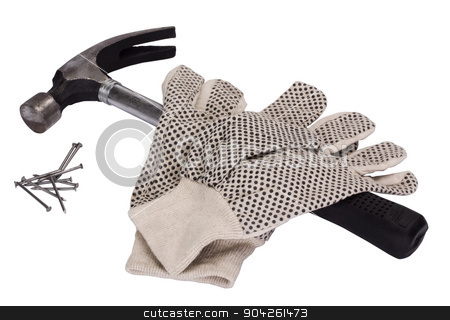 pims_20090707_as0322.jpg stock photo, Pair of work glove with claw hammer and nails by imagedb